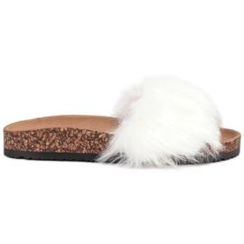 Bona bílá Pantofle s kožešinou