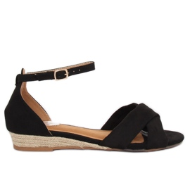 Sandály espadrilles černá 9R121 Černá