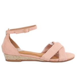 Růžový Sandály espadrilles pink 9R121 Růžová