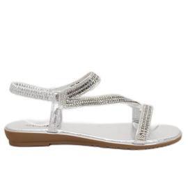 Šedá Stříbrné asymetrické sandály KM-33 Silver