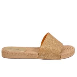 Dámské zlaté pantofle JFF-V182 Golden žlutý