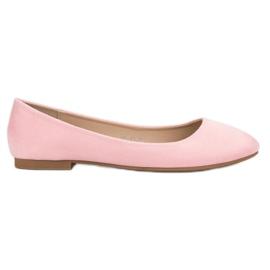 Small Swan Pink Suede Ballerina růžový