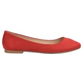 Small Swan červená Red Suede Ballerina