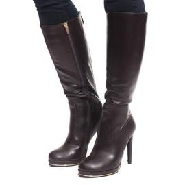 Špičkové vysoké boty JU862 Brown hnědý