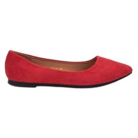 JESSY ROSS červená Suede Ballerina