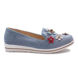 Modrý Modré klínové podpatky Multi Flower