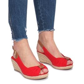 Červená Červené zoe espadrilles klínové sandály