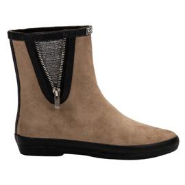 Kylie hnědý Suede Wellington boty s dekorativním zipem