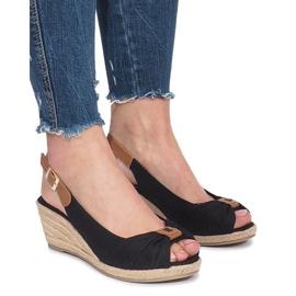 Černá Černé zoe espadrilles klínové sandály