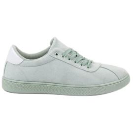 Ideal Shoes Mátové krajkové boty zelená