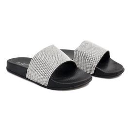 Lesklé pantofle s flitry SL-32 černé šedá