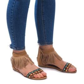 Hnědý Sandály Suede Boho 3-2 Camel