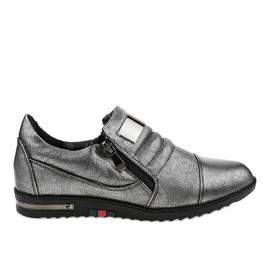 Šedé boty se zipem H034 šedá