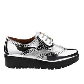 Šedá Stříbrné krajkové boty TL-60