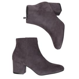 Šedé boty s nízkým podpatkem šedé YQ216P Šedé šedá