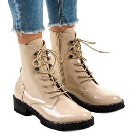 Béžové dámské vysoké boty XW37278 hnědý