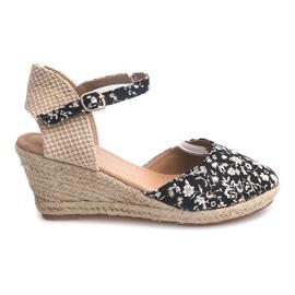 Klínové sandály 50427 Béžová
