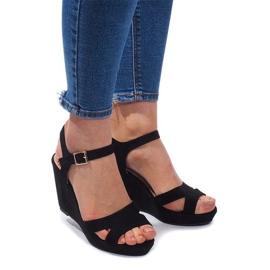 Klínové sandály C-012 Černá