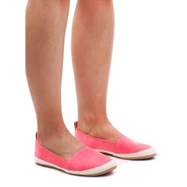 Růžový Suede Ballerinas Espadrilles 889-103 Růžová