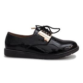 Černá Černé lakované růžové boty