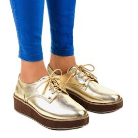 Žlutý Elegantní zlaté krajkové boty 2017-1