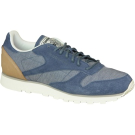 Modrý Dámské boty Reebok Cl Leather Fleck M AQ9722