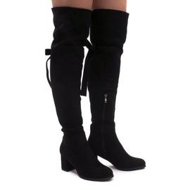Izolované semišové boty na pólu ES8517 Černá