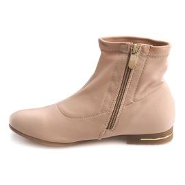 Hnědý Elegantní látkové kotníkové boty R105 béžové