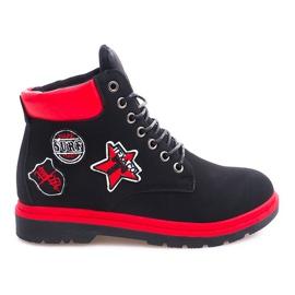 Černá Izolované dřevěné boty SJ1679-1 černé