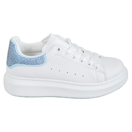 Yes Mile bílá Sportovní boty s krystaly
