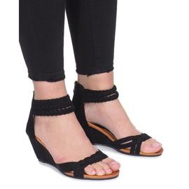 Černá Černé sandály na křehkém klínu Desun