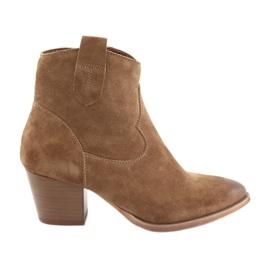 Anabelle 1466 Camel semišové kovbojské boty hnědý
