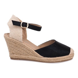 Černá Sandály do bot Espadrilles Wedge A198-3 Black