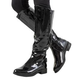 Černá Černé lakované boty W-90