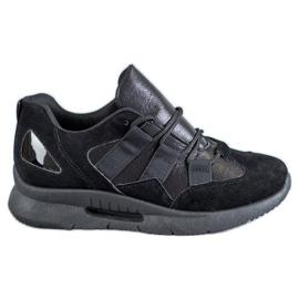 SHELOVET černá Sportovní semišová obuv