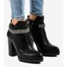 Černá Černé boty na sloupku s řetízkem 13X992-51A