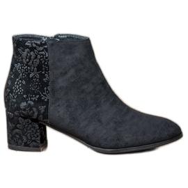 Filippo černá Semišové boty s květinami