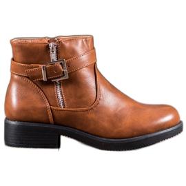 Abloom hnědý Hnědé kotníkové boty s ekologickou kůží