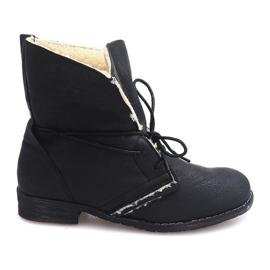 Černá Šněrovací boty s kožešinou 8848 černé
