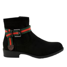 Černá Černé semišové boty na sloupku s přezkou 6119