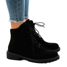 Černá Černé semišové krajkové boty HJ99-103