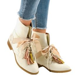 Hnědý Béžové ploché boty svázané střapci A-226
