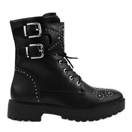 Černá Černé dámské vysoké boty se zipem A-321
