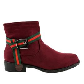 Červená Burgundské semišové boty na postu s přezkou 6119