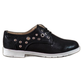 SHELOVET černá Svázané boty s ekologickou kůží