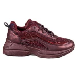 SHELOVET červená Lesklá sportovní obuv