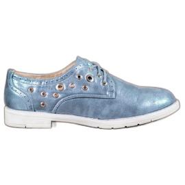 SHELOVET modrý Svázané boty s ekologickou kůží