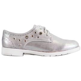 SHELOVET šedá Svázané boty s ekologickou kůží