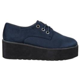 SHELOVET modrý Semišové boty na platformě