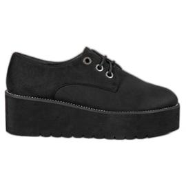 SHELOVET černá Semišové boty na platformě
